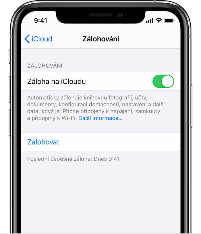 ios13 iphone xs backup na icloudu